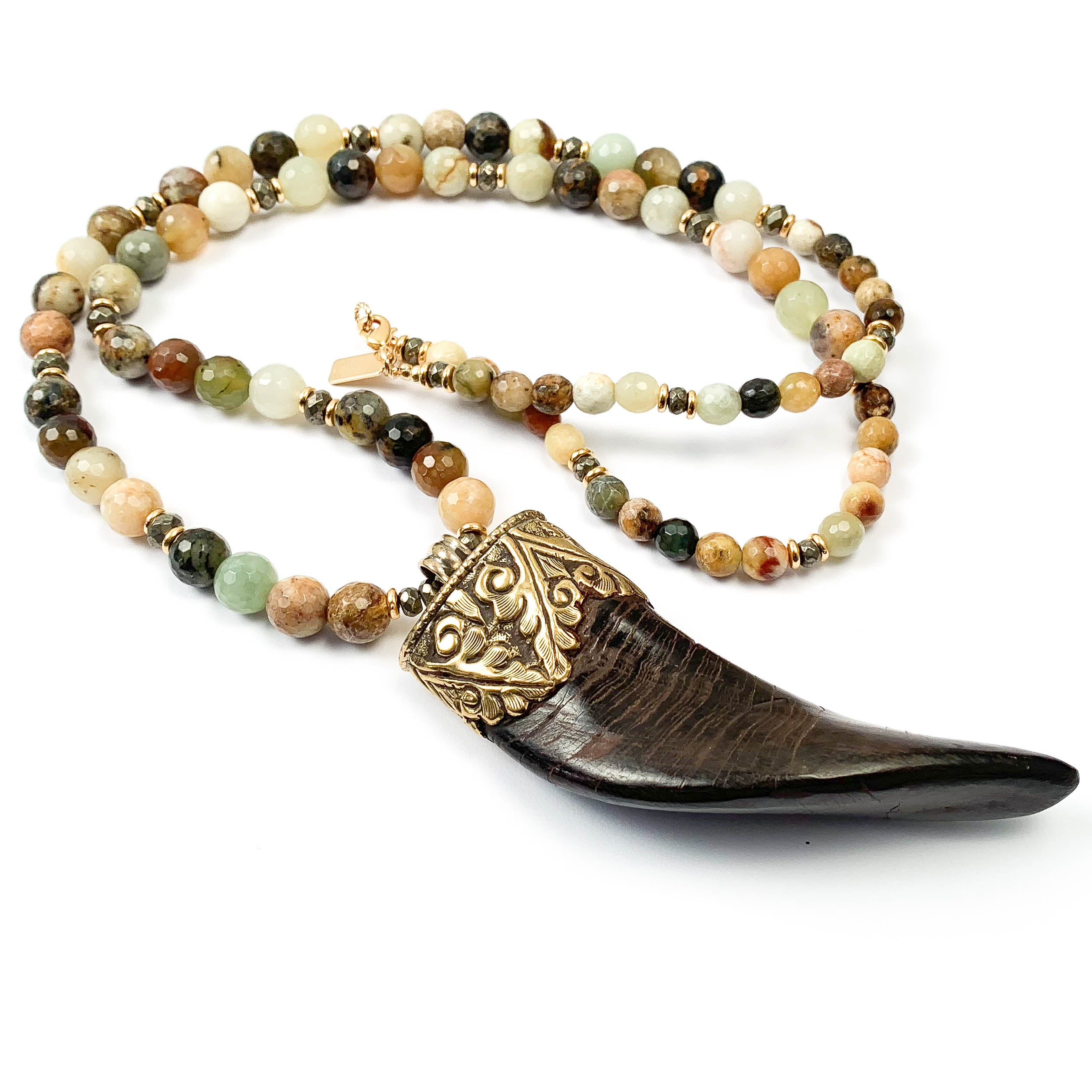 Naturally Shed Himalayan Ram's Horn Pendant & Multi-Colored Jade Necklace