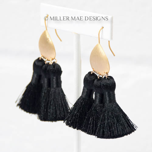 Black Bohemian Multi Tassel Earrings