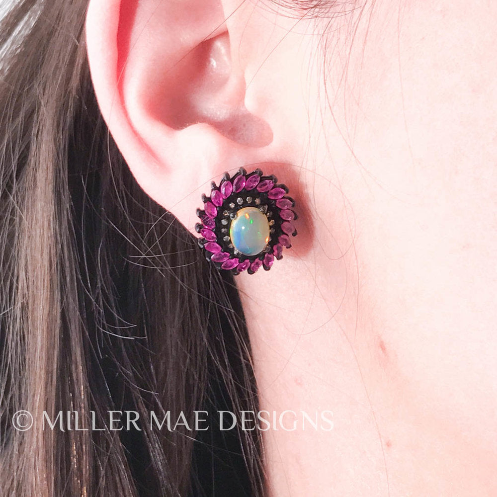 ETHIOPIAN OPAL, RUBY, & DIAMOND STUD EARRINGS