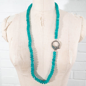 Pavé Diamond & Ethiopian Wello Opal Clasp on Hand-Knotted Amazonite Necklace