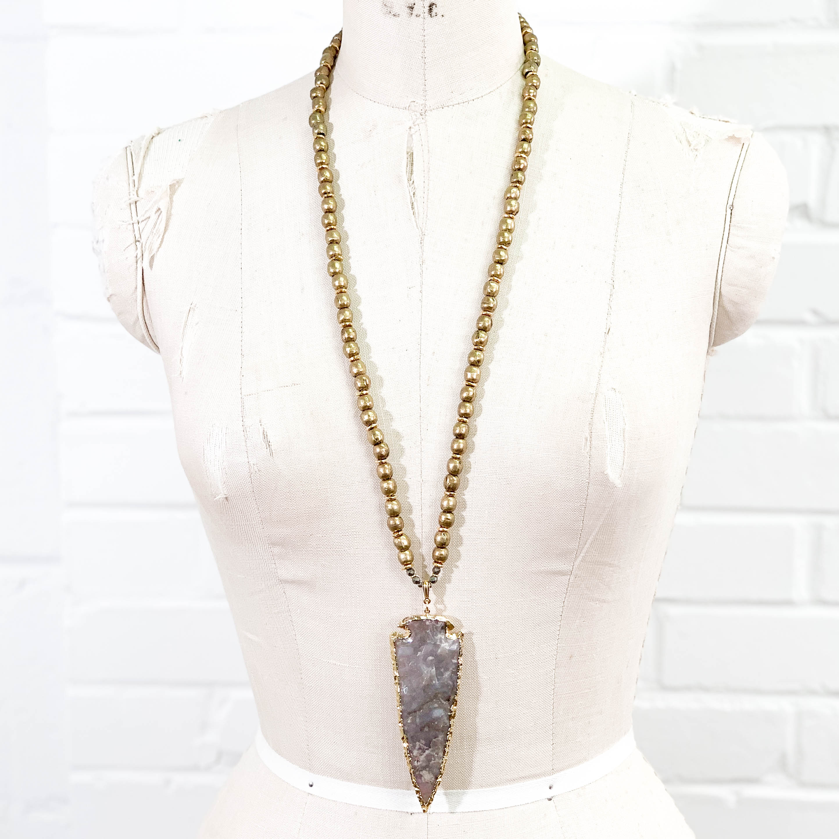 24k Gold Electroplated Jasper Arrowhead on Ethiopian Brass Bead Necklace