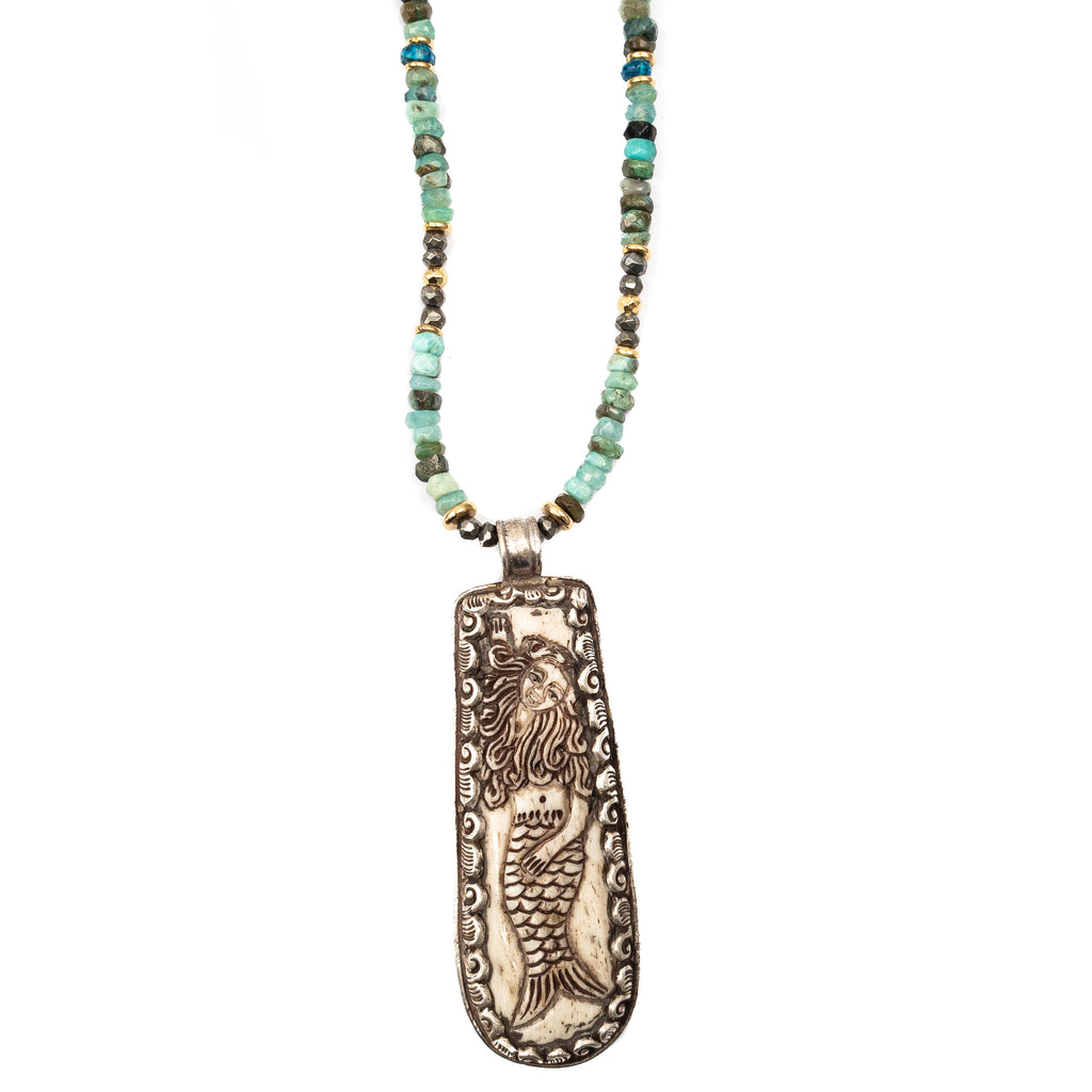 Reversible Scrimshaw Mermaid, Peruvian Opal, & Apatite Necklace