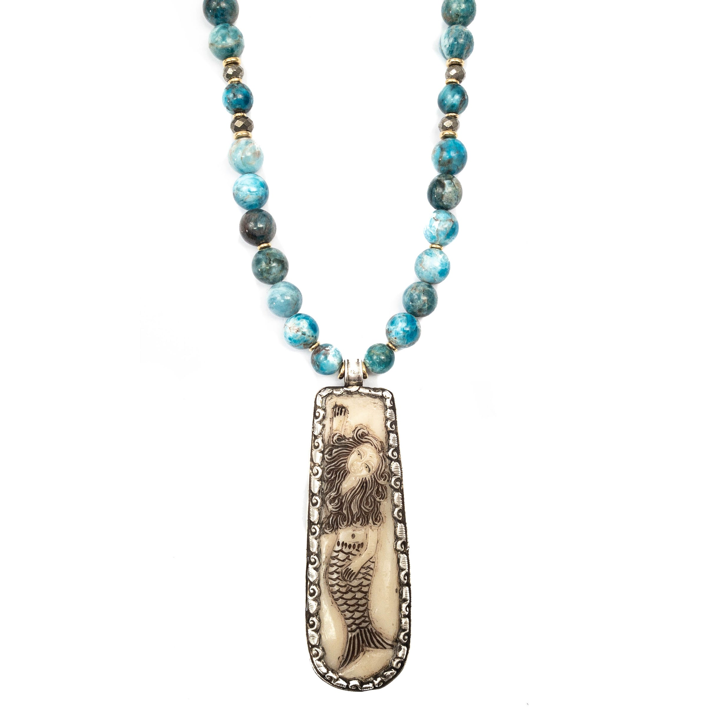Sterling Scrimshaw Carved Bone Mermaid Pendant On Apatite Necklace Miller Mae Designs