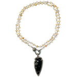 Diamond Obsidian Arrowhead on Rutilated Quartz Necklace