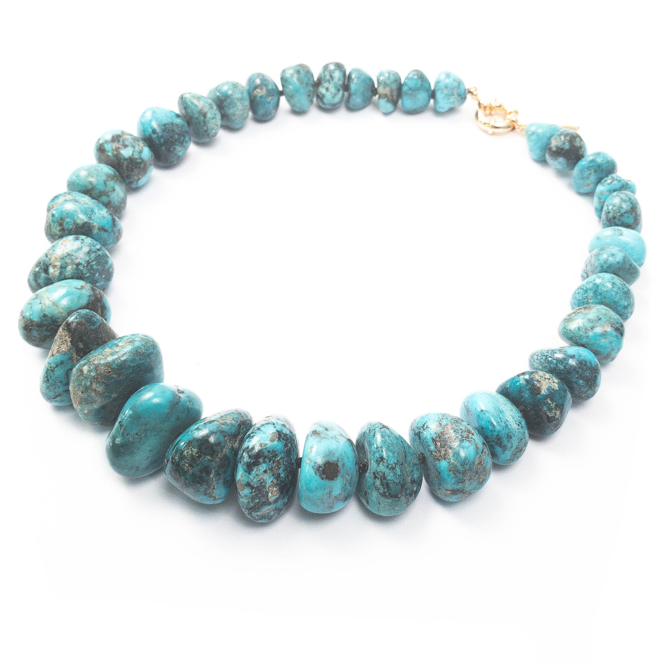 AAA Quality Undyed Mexican Nacozari Turquoise Nugget Necklace