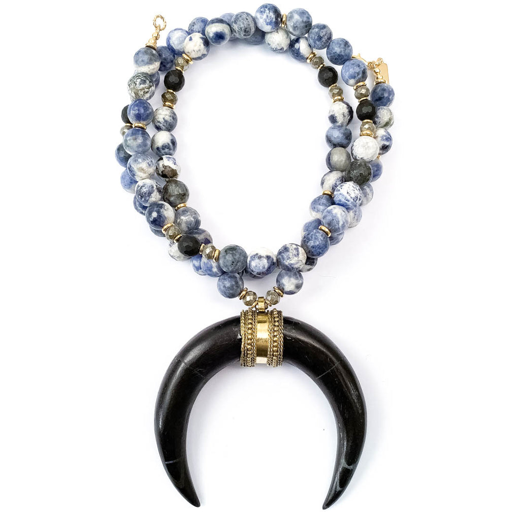 Black Crescent Horn & Blue Sodalite Necklace