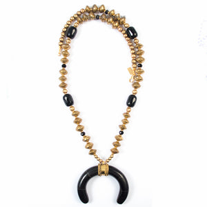 ONYX, MALI BRASS, & CARVED CRESCENT NECKLACE