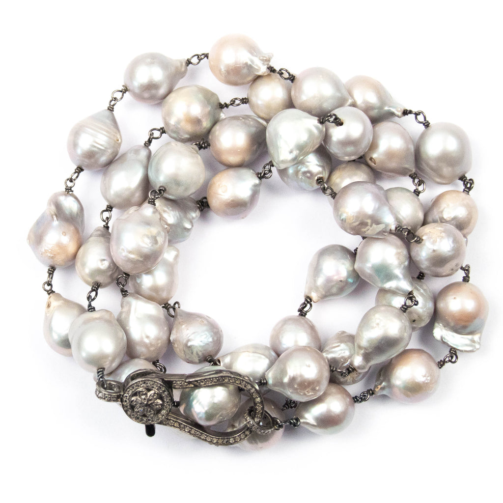 Grey Ultra Baroque Pearl & Flower Diamond Clasp Necklace