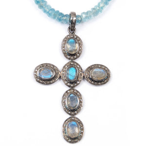 Aquamarine & Diamond/Labradorite Cross Necklace