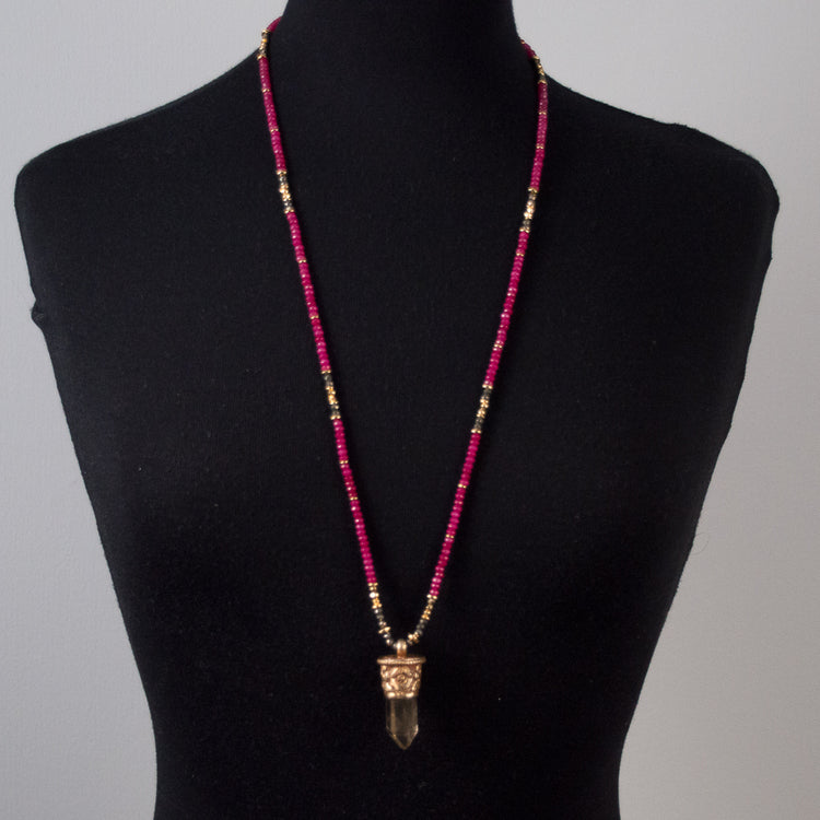 RUBY & TIBETAN QUARTZ POINT NECKLACE