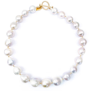 14k Gold and Silver-White Large Baroque Pearl Necklace