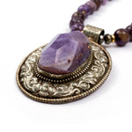 Amethyst Nugget Pendant on Charoite Necklace