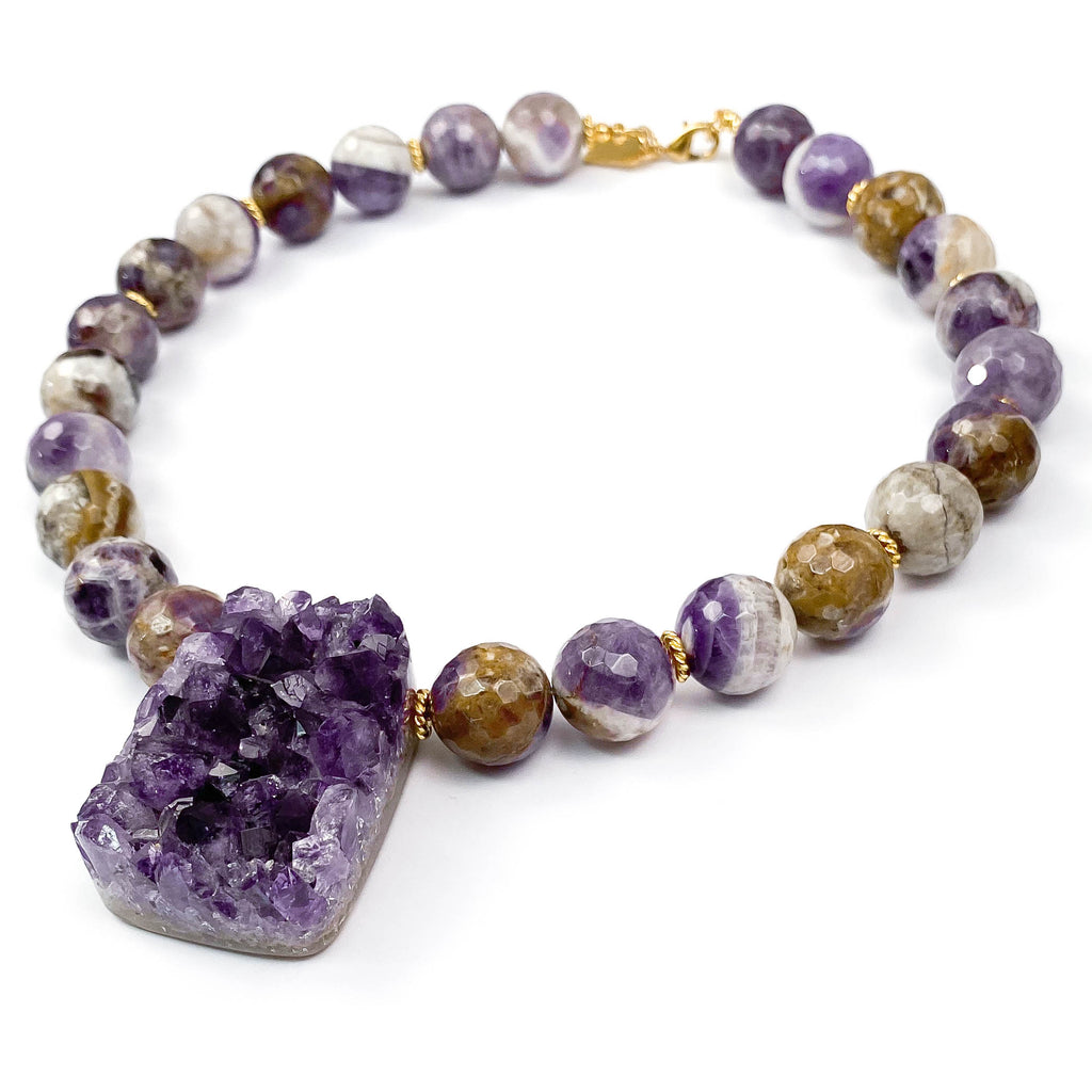 Amethyst Druzy Geode Statement Necklace
