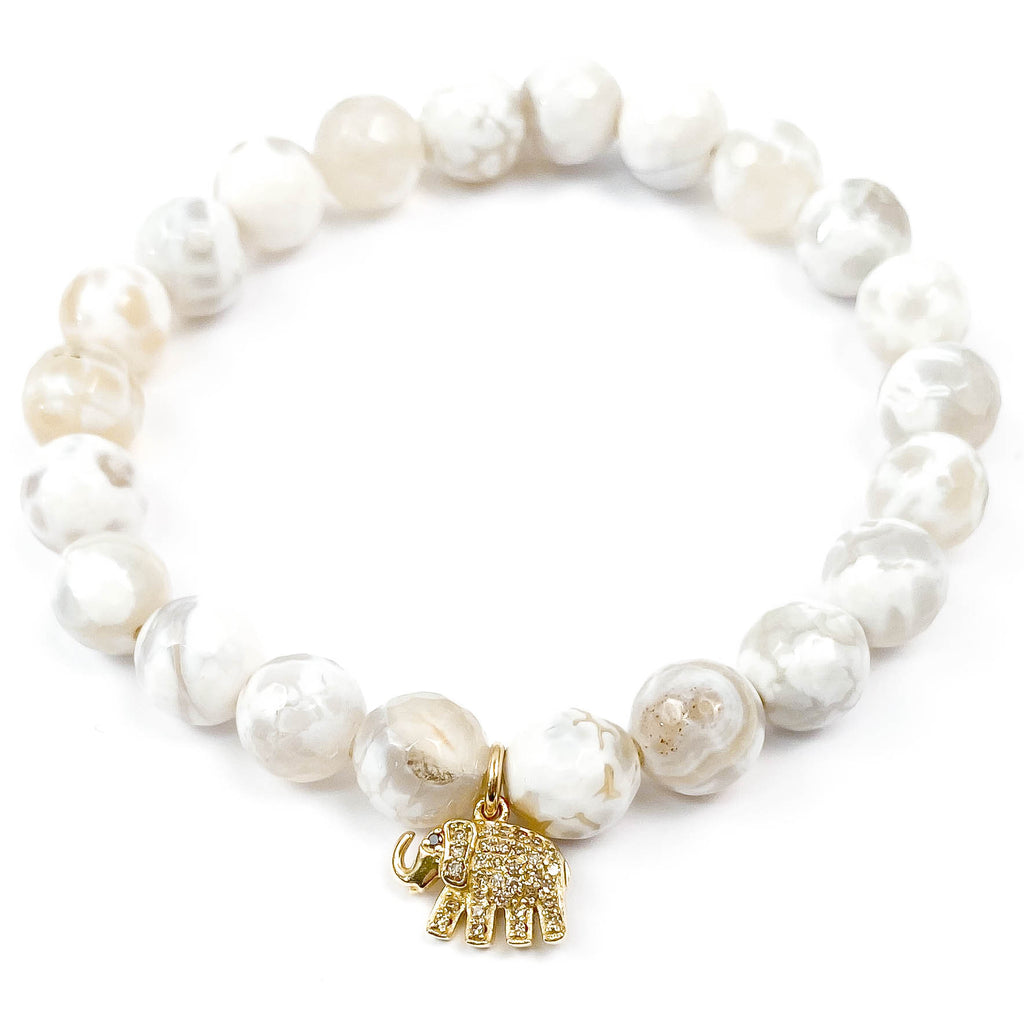 14k Gold Diamond Elephant Charm on White Agate Bracelet