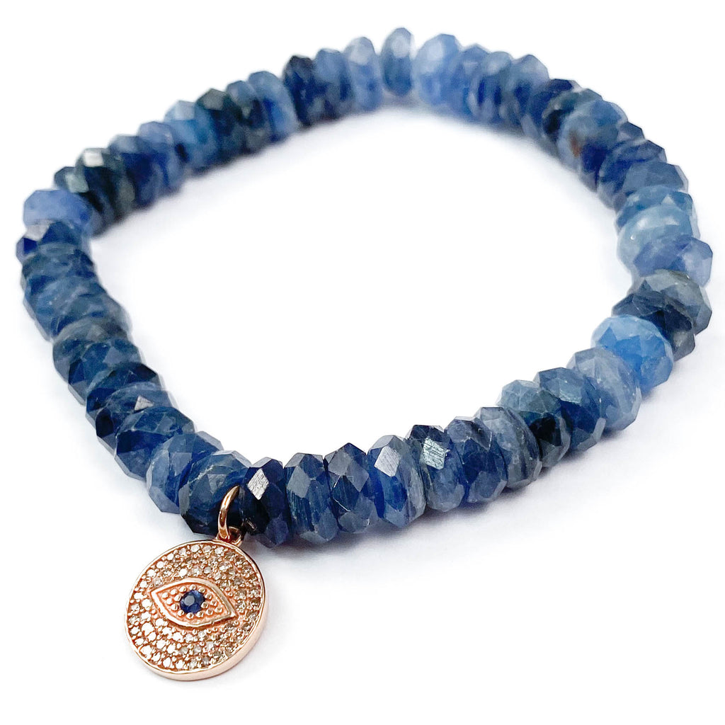 14k Rose Gold, Diamond, & Sapphire Eye Charm on Blue Kyanite Beaded Bracelet
