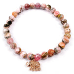 14k Rose Gold Diamond Elephant Charm and Pink Rhodochrosite Beaded Bracelet