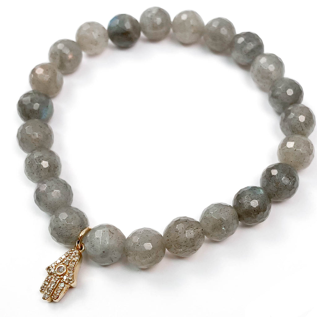 14k Gold Diamond Hamsa Charm Grey Labradorite Beaded Bracelet