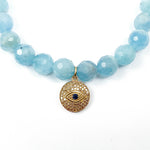 14k Gold, Diamond, & Sapphire Eye Charm on Aquamarine Beaded Bracelet