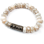 Diamond Tube Beige Moostone Bracelet