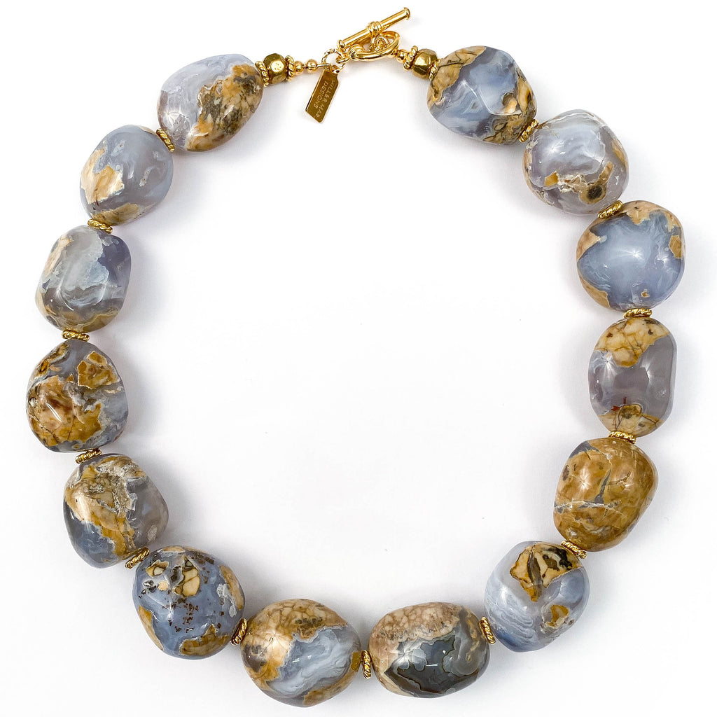Blue Chalcedony Nugget Statement Necklace