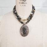 Nepal Labradorite Pendant on Sage Agate Necklace