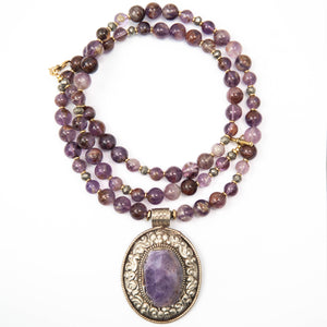 Nepal Amethyst Geode Pendant on Super Seven Stone Necklace
