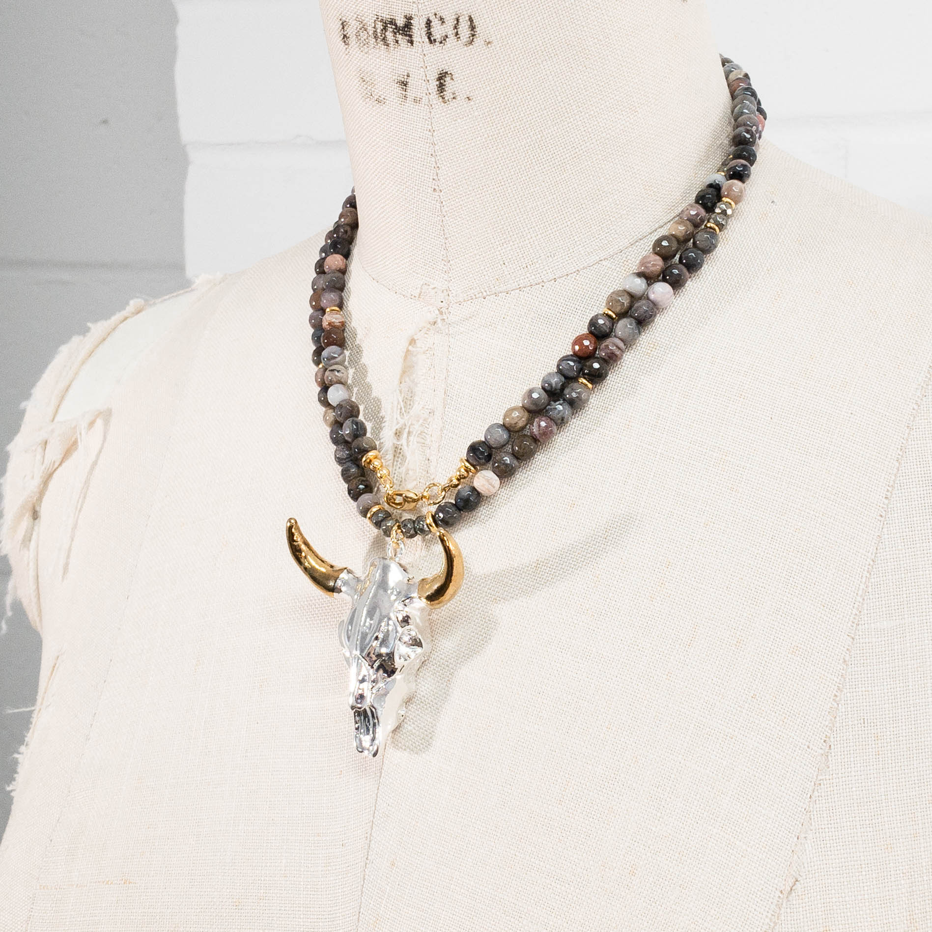 Silver & Gold Longhorn Skull Pendant on Petrified Wood Necklace