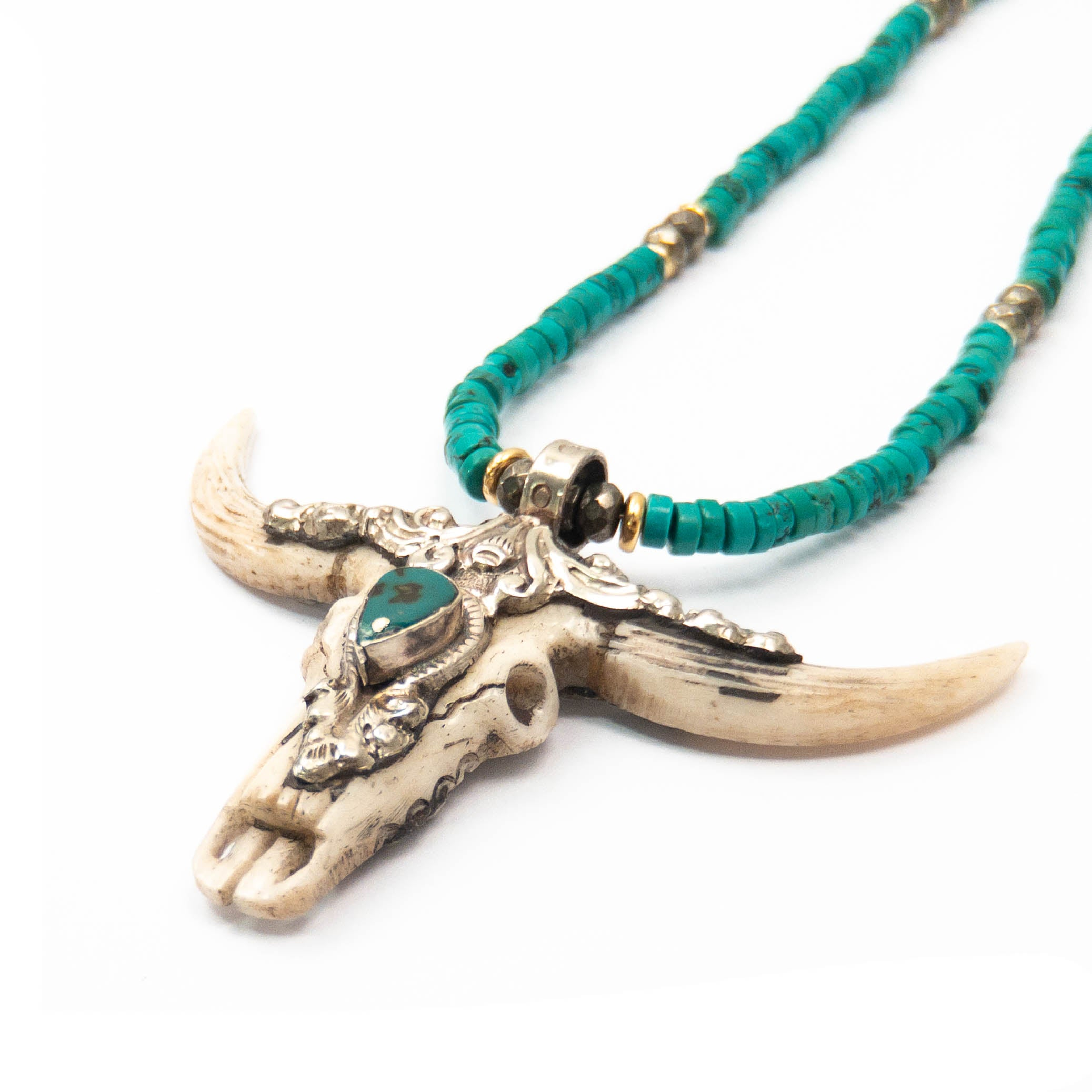 Nepali Repousse Longhorn Skull Pendant on Green Turquosie Necklace