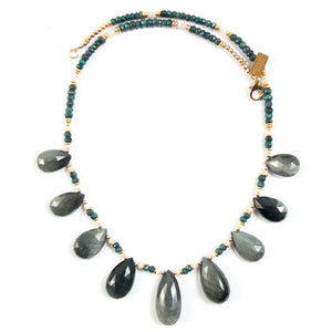 CAT'S EYE, EMERALD, & SAPPHIRE NECKLACE