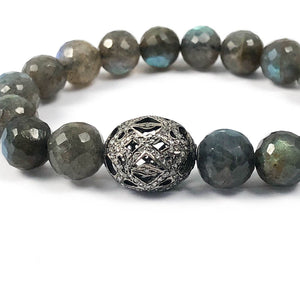 PAVÉ DIAMOND ART DECO BALL & LABRADORITE BRACELET