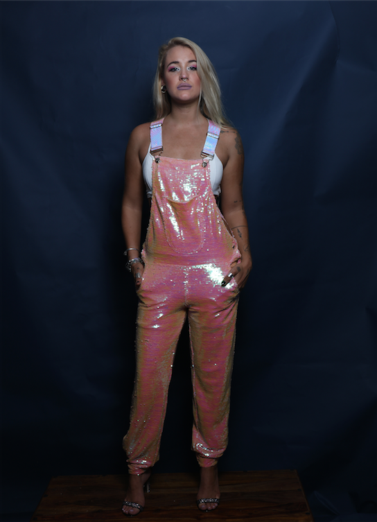 Pink Princess Long Sequin Overalls