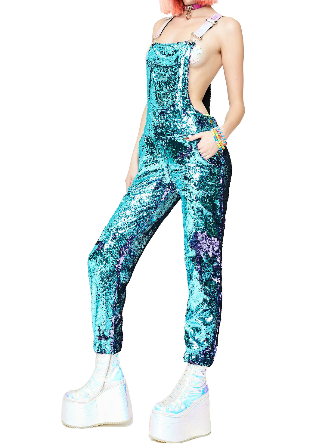 Mermaid Mystic Long Sequin Overalls