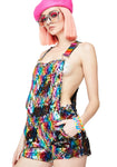 Rainbow Unicorn Short Sequin Overalls