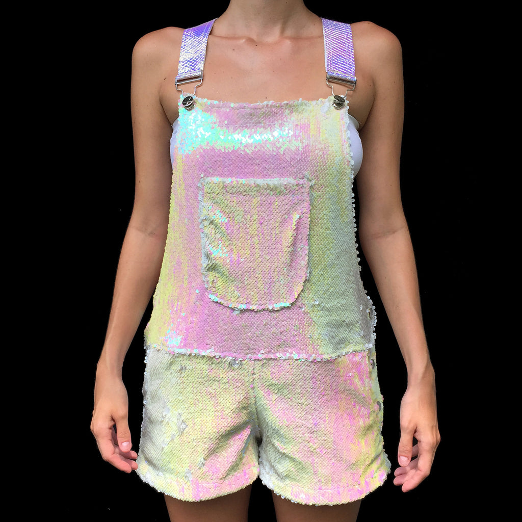 White Unicorn Short Sequin Overalls