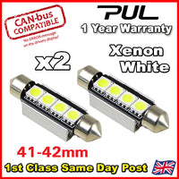 2X FORD TRANSIT WHITE 6 SMD LED 41MM FESTOON INTERIOR LIGHT BULBS - LED20WX2