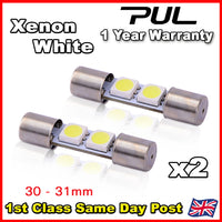 Pair WHITE 30 -31mm Range Rover 2 SMD LED Sun Visor Vanity Mirror Light