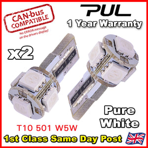 2x W5W 501 CANBUS 5 SMD LED SIDELIGHT BULBS FORD FOCUS Mk 2 2 ST 225 XENON WHITE