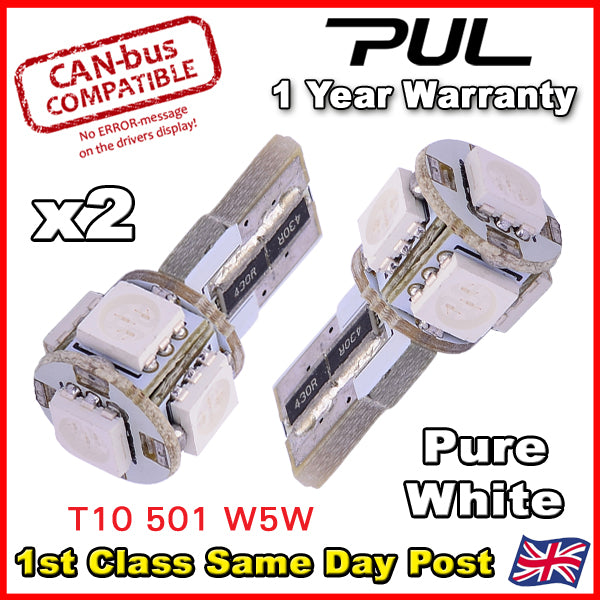 2 - 10 x ERROR FREE CANBUS W5W T10 501 LED SIDE LIGHT BULB 5 SMD - HID WHITE