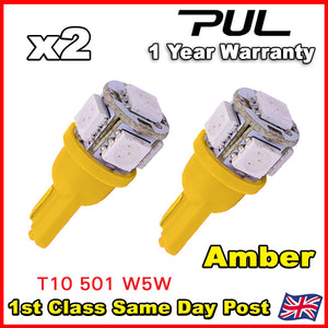 2 x 5 SMD LED AMBER ORANGE INDICATOR SIGNAL TURNING SIDE LIGHT BULB T10 W5W 501