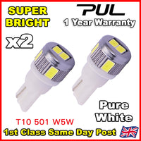 6 LED PURE WHITE 501 T10 W5W SIDELIGHT BULBS FORD FIESTA HATCHBACK ST ZETEC