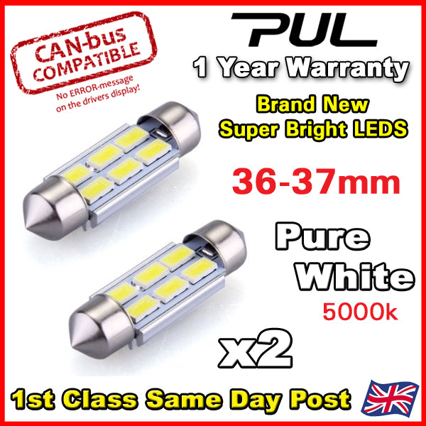 BMW E46 E39 E60 E90 Pure White LED Number Plate Lights Bulbs 36mm - ERROR FREE