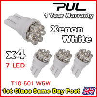 4 X 7 LED 501 T10 W5W SIDELIGHT / NUMBER PLATE / INTERIOR BULBS