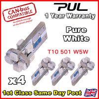 T10 CAR BULBS LED ERROR FREE CANBUS 8 SMD PURE WHITE W5W 501 SIDE LIGHT BULB