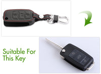 SKODA OCTAVIA FABIA SUPERB ROOMSTER LEATHER COVER 3 BUTTON CASE FLIP KEY FOB