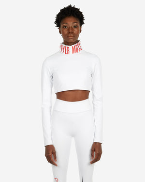 Embroidered Cropped Logo Turtleneck