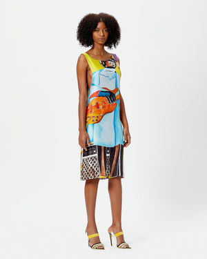 Boat Neck Midi Silk Dress