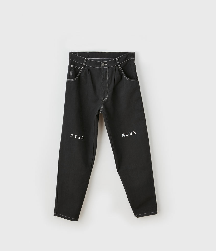 Pleated Logo Wide Jean
