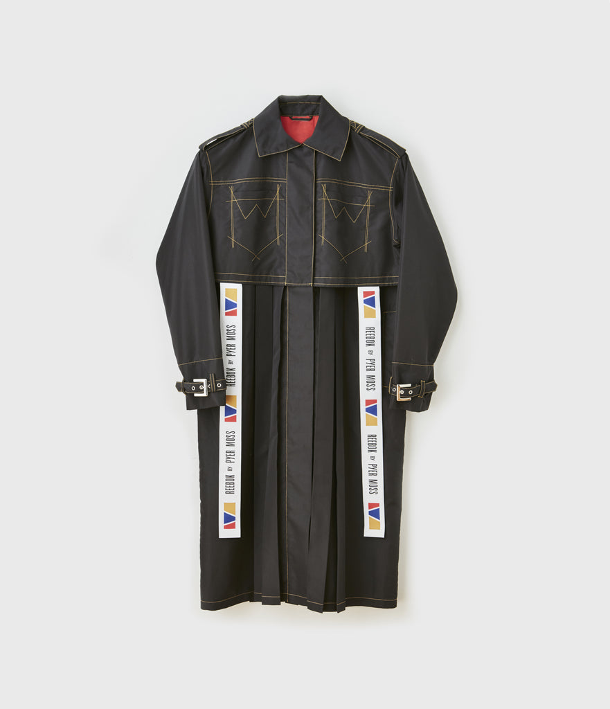 Logo Ribbon Trimmed Pleated Trench Coat