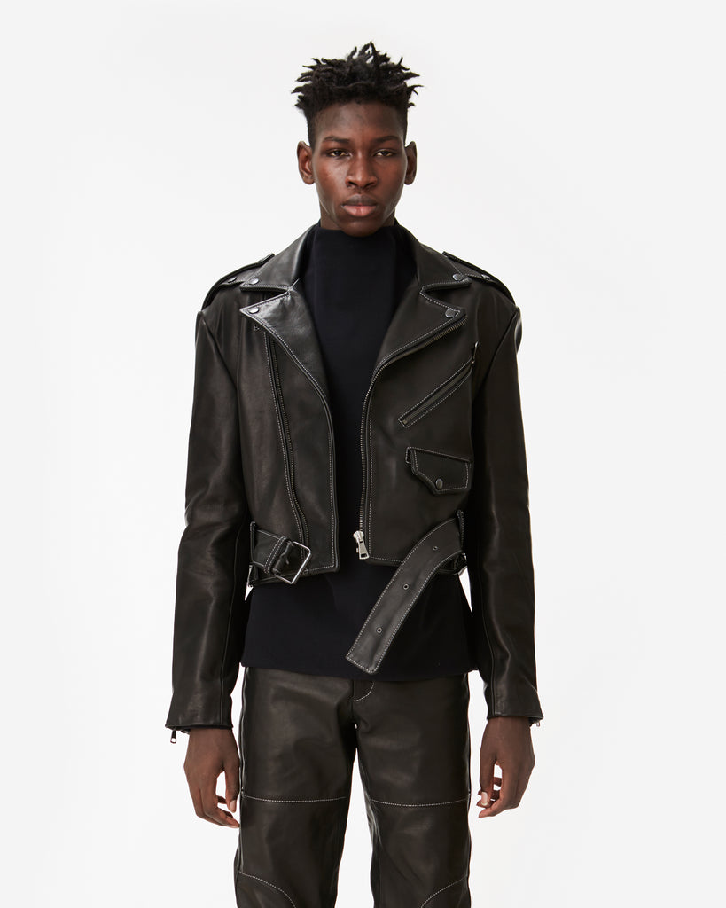 Cropped Leather Biker Jacket