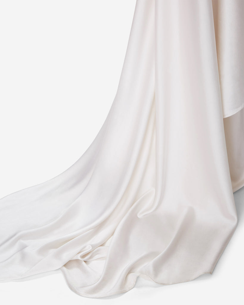 Draped Sleeve Wedding Gown